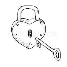 lock and key drawing.  And Sketch Heartlock With Key Vector And Lock Key Drawing