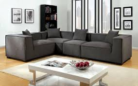 grey fabric upholstered modular sectional sofa set
