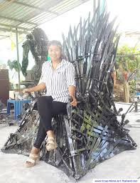 life size iron throne alien and predator tables life size scrap metal art