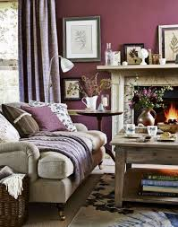 Living Room Country Purple Country Living Room With White Marble Fireplace Decor