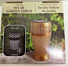 Outdoozie Outdoor Glass Solar Light Outdoozie Metal Lattice Laser Cut Solar Table Top Torch Copper