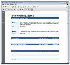 How To Write An Agenda Of A Meeting Meeting Agenda Example