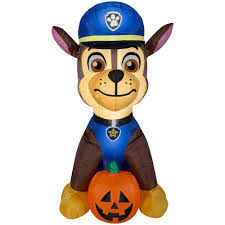 pre lit inflatable paw patrol chase with pumpkin airn