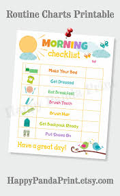 Childrens Dvd Chart Morning Checklist Printable Morning Routine Checklist