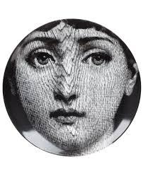 Fornasetti Art Prints Fornasetti Face Print Plate White Men Lifestyle Homeware