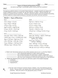 chemical reaction worksheet answers