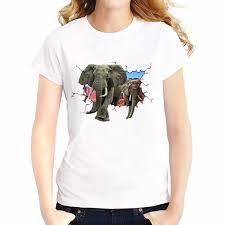 Elephant Shirt Design Us 7 21 44 Off Elephants Giraffe Break Out Design 3d T Shirt Breathable Comfort Tshirt Short Sleeve O Neck Girls Creative T Shirts In T Shirts From