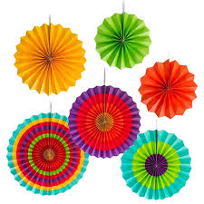 fiesta colorful paper fans round wheel disc southwestern pattern design for party event home