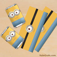 chocolate bar wrappers free printable minion mini candy bar wrappers