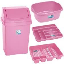 pink kitchen accessories baby bin and washing up