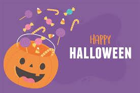 Happy Halloween pumpkin shaped bucket with many candies 1367336 Vector Art  at Vecteezy