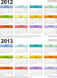 printable year calendar 2013 2012 2013 calendar free printable two year excel calendars