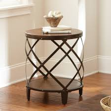 steve silver winston round distressed wood and metal end table hayneedle