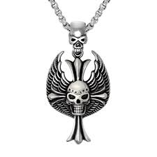 mens necklaces stainless steel gothic wing skull cross pendant necklace for men hiphop vintage biker