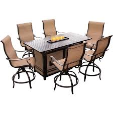 hanover monaco 7 piece aluminum outdoor high dining set with rectangular firepit table and contoured