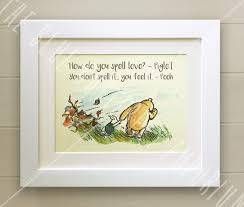 Winnie The Pooh Framed Quote Print New Babybirth Nursery Picture Gift Pooh Bear And Piglet How Do You Spell Love White Frame