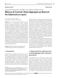 Pdf Mixture Of Crushed Stone Aggregate As Material For