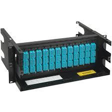 Lc Mpo Fiber Optic Rack Mount Enclosure Pre Configured With 12 Cassettes With 288 10g Aqua Fibers