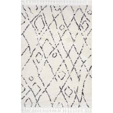 nuloom nieves moroccan diamond tassel off white 9 ft x 12 ft area rug