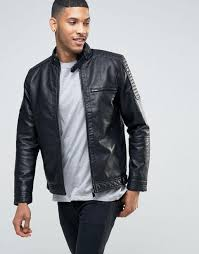 river island biker jacket with racer neckline in faux leather black men jackets river island shoes river island clearance s