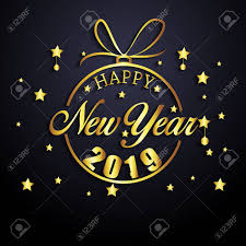 2019 Happy New Year Greeting Card Vector Design Template Royalty