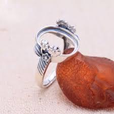 vine flower solid 925 silver adjule ring setting oval gemstone