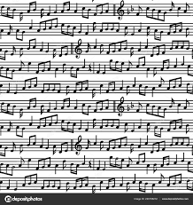 Stave Music Stave Music Notes Seamless Pattern Black White Vector Music