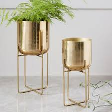 brass and metal furniture. Spun Metal Standing Planter - Brass And Furniture E