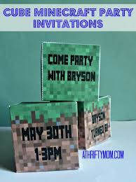 Cube Minecraft Party Invitations Minecraft Party A
