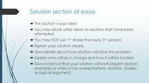 how to write your problem solution essay cynthia baxter ed s  6 solution section of essay