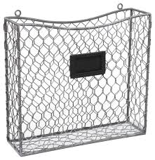 rustic wire frame wall mounted and file basket with chalkboard label