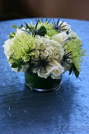 White Rose & Hydrangea, Geen Spider Mum w/ Blue Thistle Accents by Aria  Style
