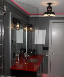 industrial bathroom vanity lighting. Industrial Bathroom Vanity Lighting Within Rustic Cast Guard Fixtures Put Some Vrooom In Remodeled Bath U