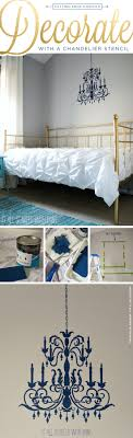 cutting edge stencils shares how to diy a stenciled chandelier wall pattern in a bedroom