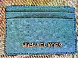 mk michael kors saffiano leather jet set travel large card holder sky blue