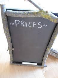 Blackboard Chart Price Chalkboard Chalkboard Projects Chalkboard Twig Frame