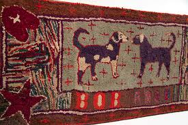 antique american folk art hooked rug of dogs named bob and rose