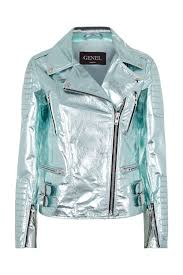 mint metallic leather biker jacket