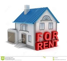 Home For Rent 3D Concept Stock Image