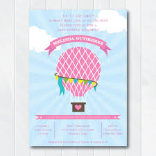 Balloon Birthday Invitations Hot Air Balloon Baby Shower Invitation Up Up And Away Baby Shower
