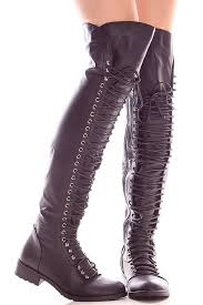 black faux leather side zipper over the knee high boots