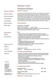 Production Manager Resume Samp