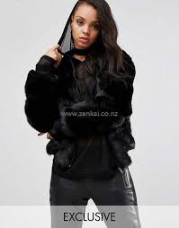 new style women story of lola oversized faux fur er jacket 6754 black on black