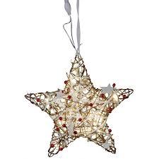 Dekojohnson Led Fensterdeko Weihnachten Metall Stern Mit Rattan Geflecht 20 Led Lampen Fensterschmuck Beleuchtet Braun Rot 30cm