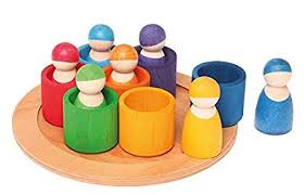 grimm s seven friends in 7 bowls set of wooden sorting matching rainbow peg dolls