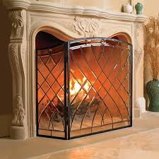 traditional accesories glass fireplace screen
