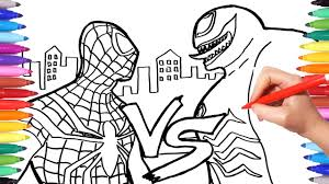 Posted in coloring for boys. Spiderman Vs Venom Coloring Pages How To Draw Spiderman And Venom Superheroes Coloring Book Youtube