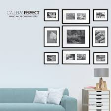 gallery perfect 9 piece black wood photo frame wall gallery kit 14fw1019 includes frames hanging wall template decorative art  on wall art hanging hardware with gallery perfect 9 piece black wood photo frame wall gallery kit
