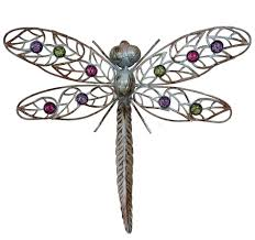 Dragonflies Wall Decor Metal Wall Art Hanging Dragonfly With Multicolour Glass Beads In 4