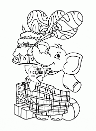 Small Picture Funny Elephant with Balloons and Birthday Cake coloring page for